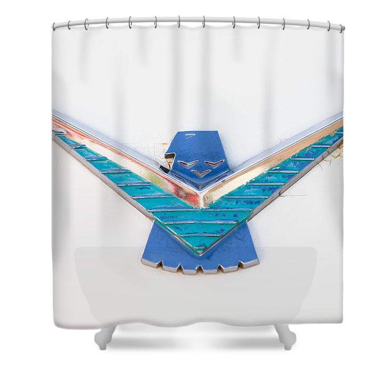 1958 Ford Thunderbird Emblem Shower Curtain Featuring The Photograph 0174c By