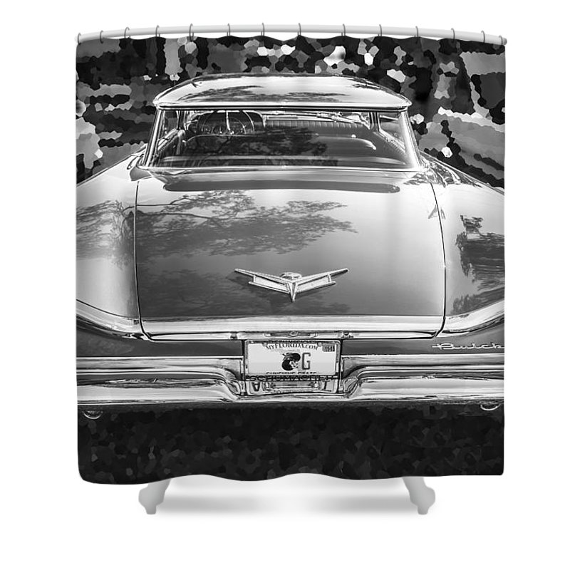 1959 Buick Shower Curtain featuring the photograph 1959 Buick Electra 225 Bw by Rich Franco