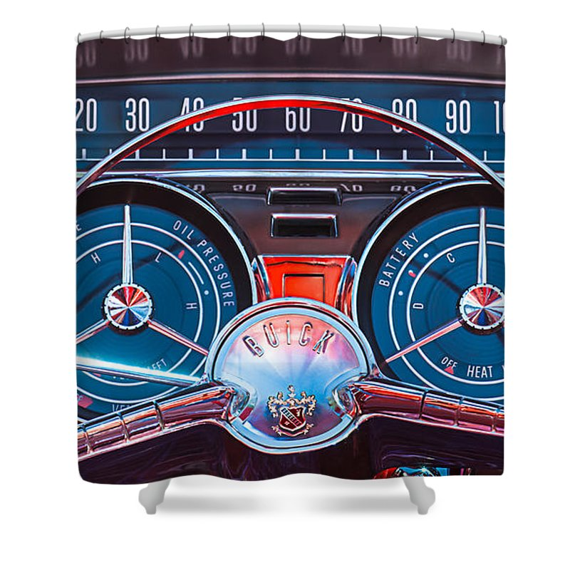 Car Shower Curtain featuring the photograph 1959 Buick Lesabre Steering Wheel by Jill Reger