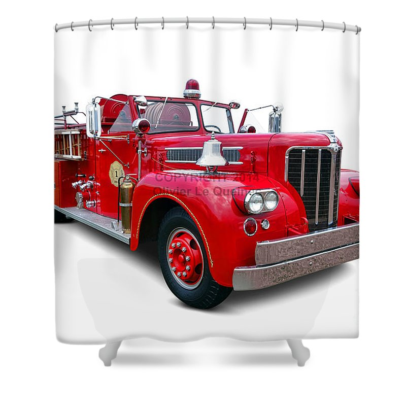 1959 Shower Curtain Featuring The Photograph Maxim Fire Truck By Olivier Le Queinec