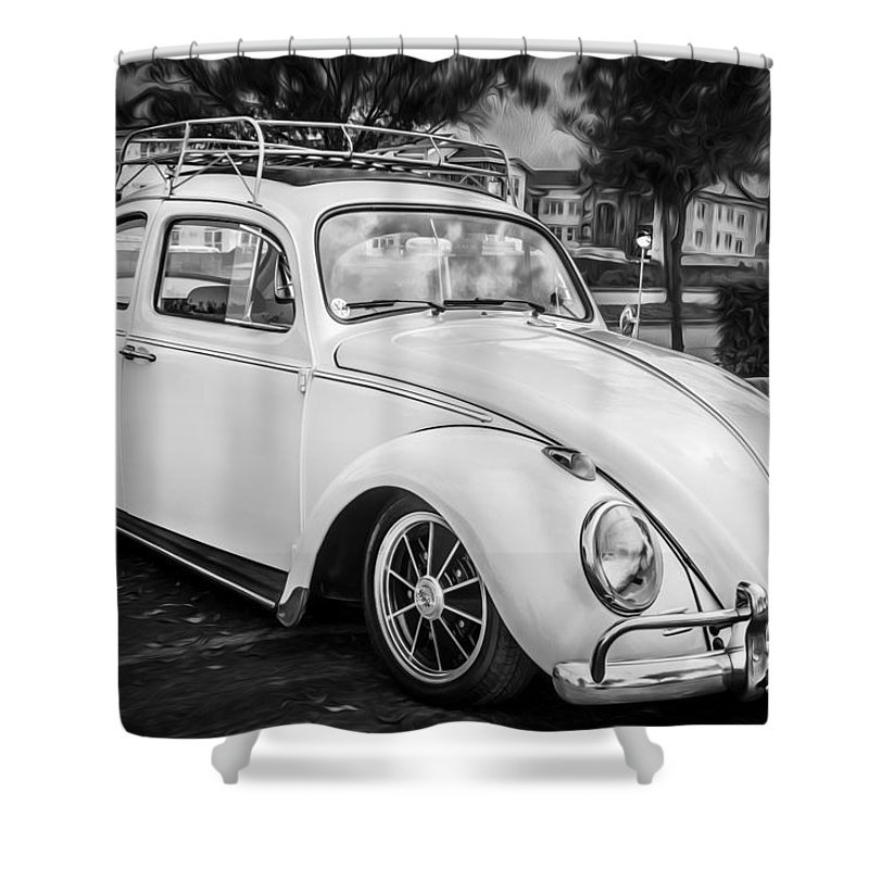 1960 Vw Shower Curtain Featuring The Photograph Volkswagen Beetle Bug Bw By Rich Franco