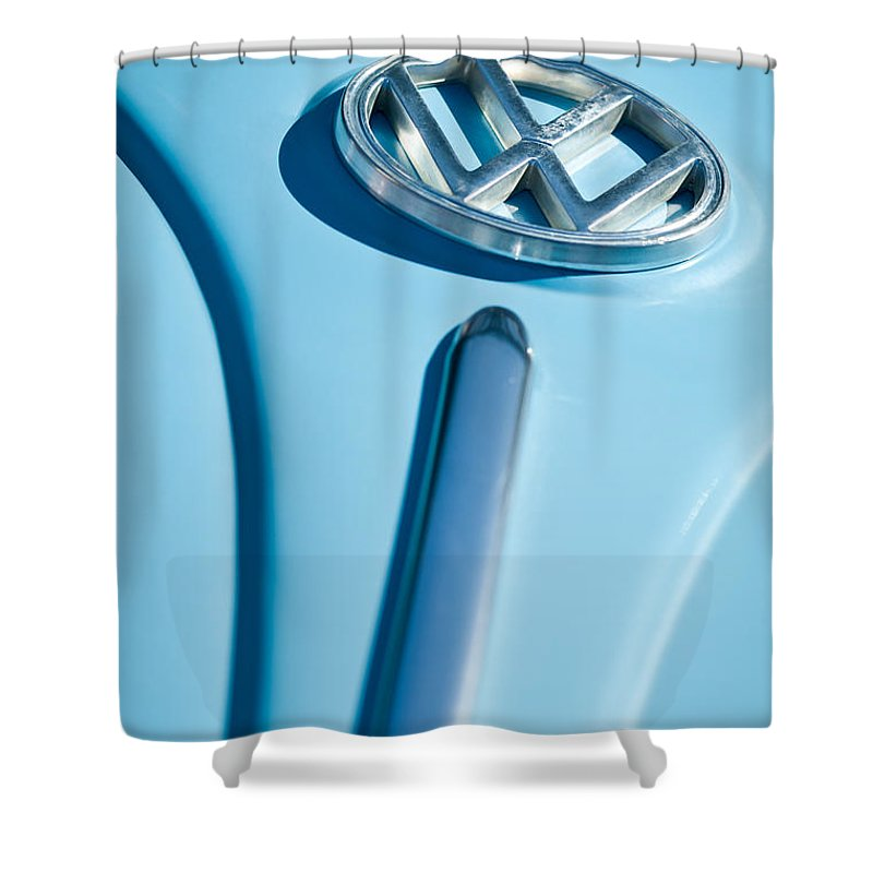 1960 Volkswagen Vw Emblem Shower Curtain featuring the photograph 1960 Volkswagen Vw Hood Emblem by Jill Reger
