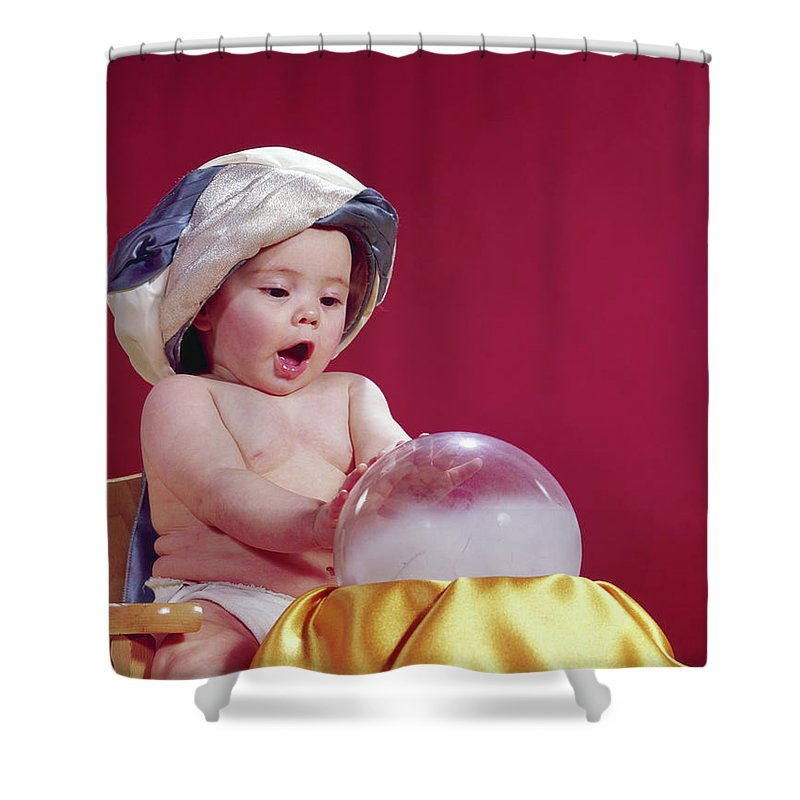 Photography Shower Curtain Featuring The Photograph 1960s Baby Fortune Teller Wearing By Vintage Images