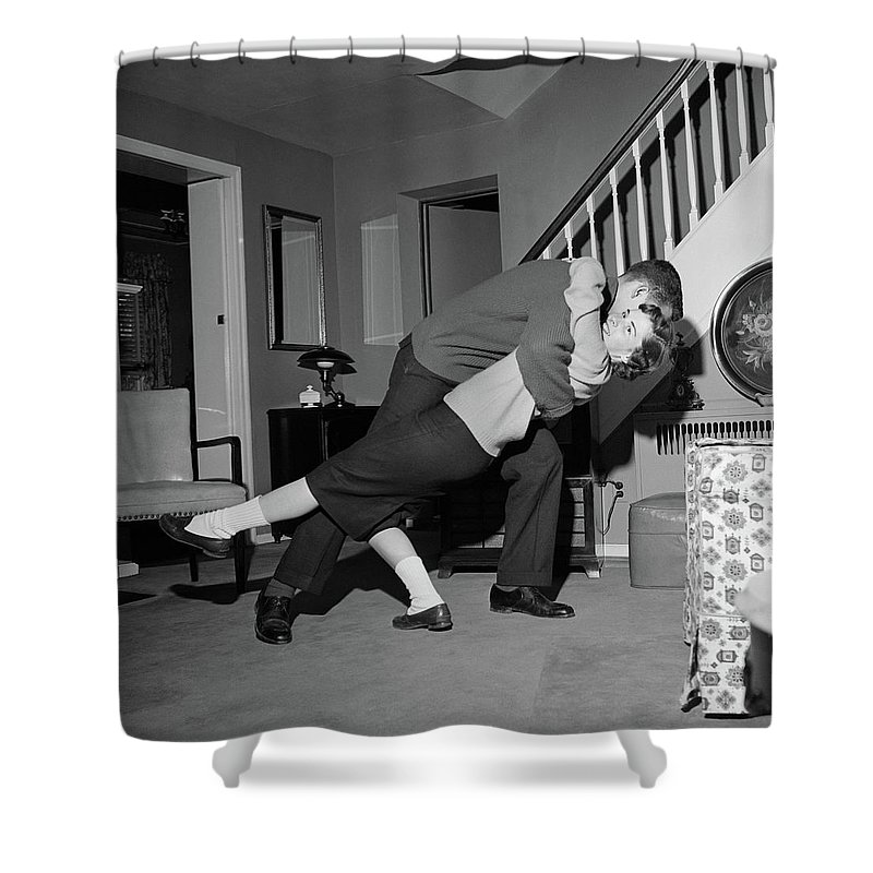 1960s Teenage Couple Boy & Girl Dancing Shower Curtain for Sale by ...
