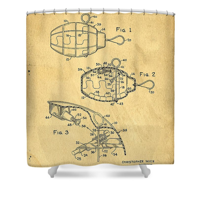 Toy Shower Curtain featuring the photograph 1960s Toy Hand Grenade by Edward Fielding
