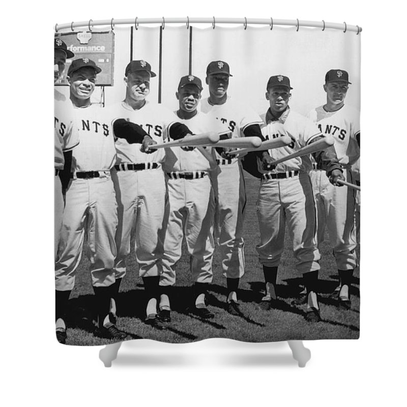 1961 Shower Curtain Featuring The Photograph San Francisco Giants By Underwood Archives