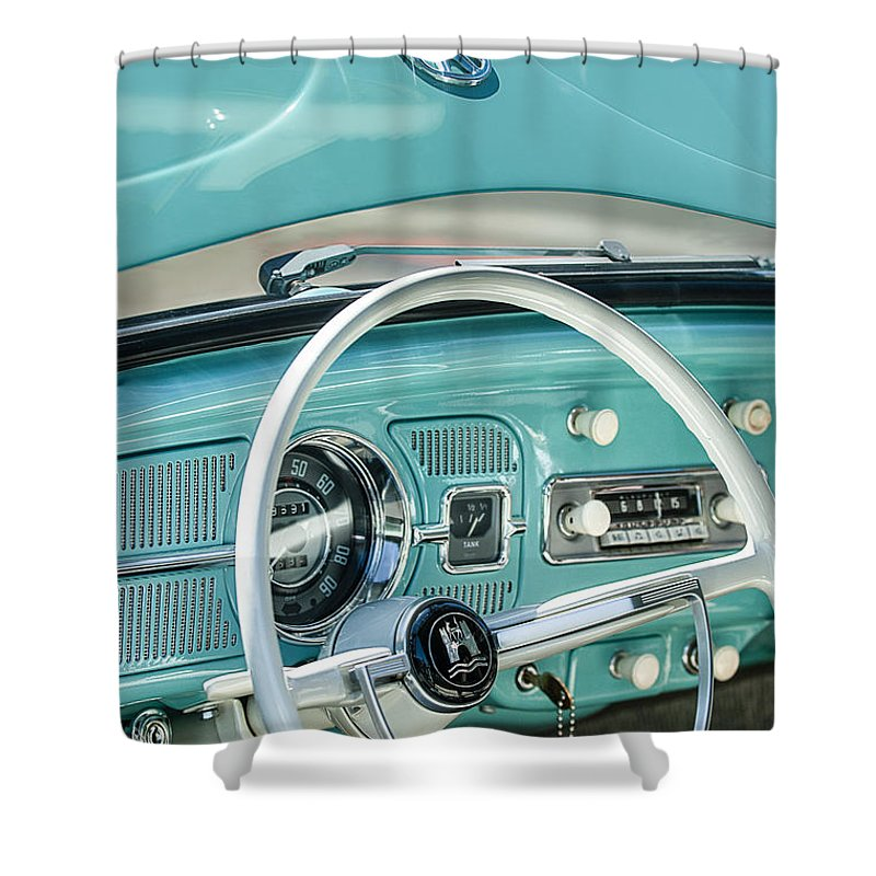 1962 Volkswagen Vw Beetle Cabriolet Steering Wheel Shower Curtain Featuring The Photograph