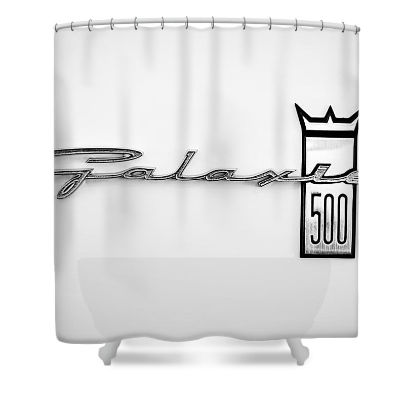 1963 Ford Galaxie 500 R Code Factory Lightweight Emblem Shower Curtain Featuring The Photograph