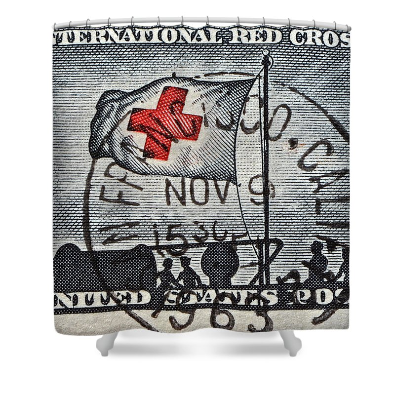 1963 Shower Curtain featuring the photograph 1963 Red Cross Stamp - San Francisco Postmark by Bill Owen
