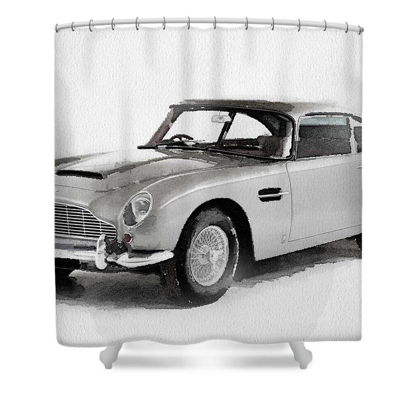 Aston Martin Db Watercolor Shower Curtain For Sale By Naxart - 1964 aston martin for sale