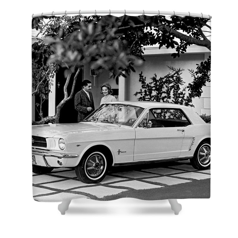 1960s Shower Curtain Featuring The Photograph 1964 Ford Mustang By Underwood Archives
