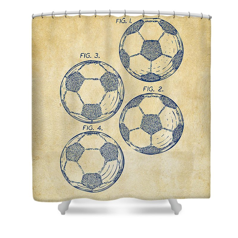 Soccer Shower Curtain featuring the digital art 1964 Soccerball Patent Artwork - Vintage by Nikki Marie Smith