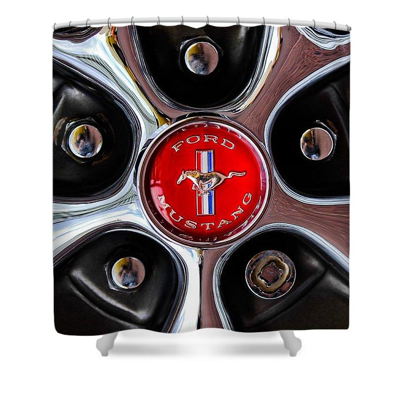 1966 Ford Mustang Gt Wheel Emblem Shower Curtain featuring the photograph 1966 Ford Mustang Gt Wheel Emblem by Jill Reger