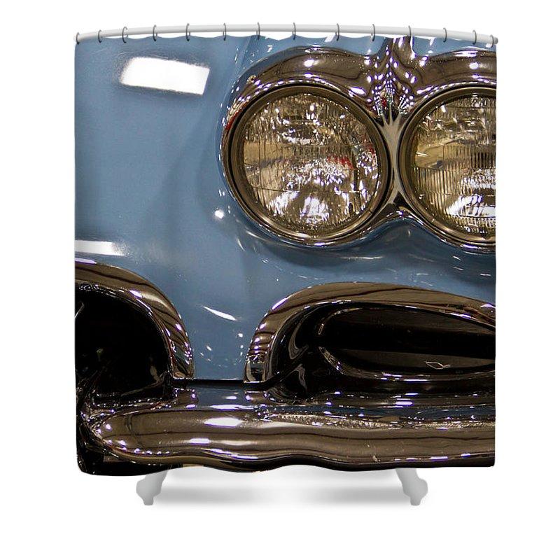 Retro Shower Curtain featuring the photograph 1967 Blue Corvette-front Left by Eti Reid
