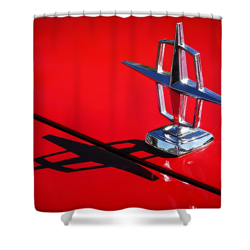 1967 Lincoln Continental Hood Ornament Shower Curtain featuring the photograph 1967 Lincoln Continental Hood Ornament -1204c by Jill Reger