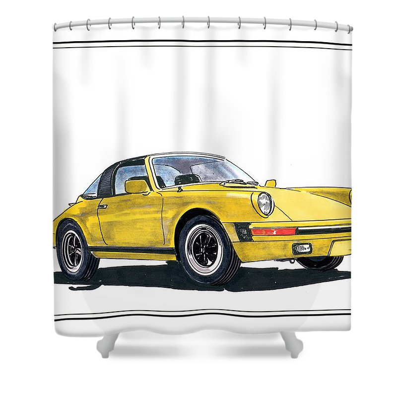 A Watercolor Paint With Ink Accents By Jack Pumphrey Of A 1968 Porsche 911 Targa Shower Curtain featuring the painting 1968 Porsche Targa by Jack Pumphrey