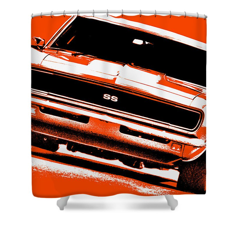 1968 Shower Curtain featuring the photograph 1969 Chevy Camaro Ss - Orange by Gordon Dean II