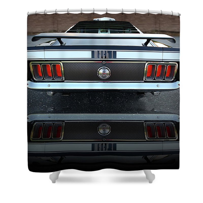 1973 Shower Curtain featuring the photograph 1970 Ford Mustang Mach 1 by Gordon Dean II
