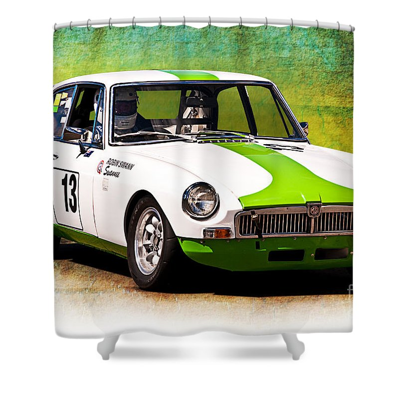 Mg Shower Curtain featuring the photograph 1970 Mgb Gt by Stuart Row