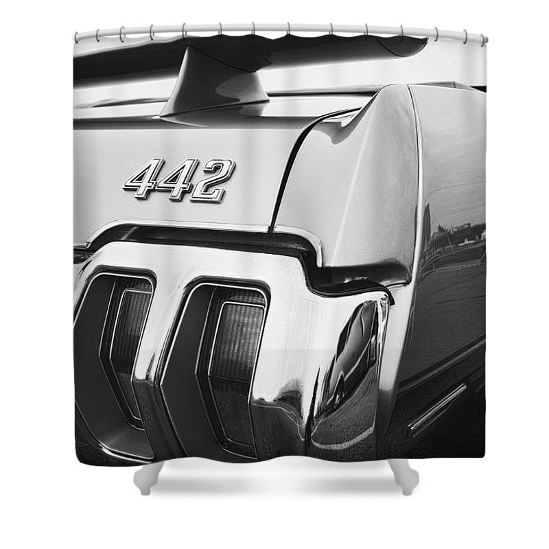 Oldsmobile Shower Curtain featuring the photograph 1970 Olds 442 Black And White by Gordon Dean II