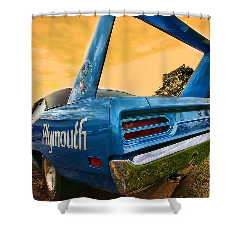 1970 Shower Curtain featuring the photograph 1970 Plymouth Road Runner Superbird by Gordon Dean II
