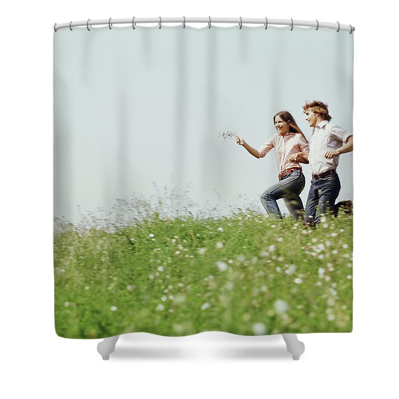 Photography Shower Curtain featuring the photograph 1970s Boy Girl Running Field by Vintage Images