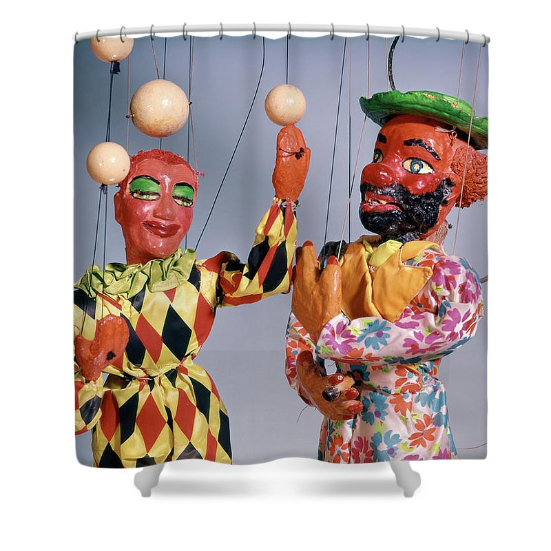 Photography Shower Curtain Featuring The Photograph 1970s Marionette Puppet Show Circus By Vintage Images