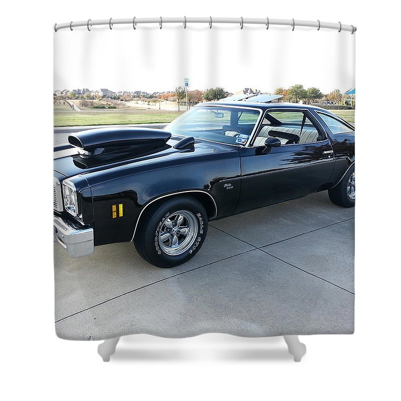 1976 Shower Curtain featuring the photograph 1976 Chevy Malibu Modified Muscle Car by Big E tv Photography