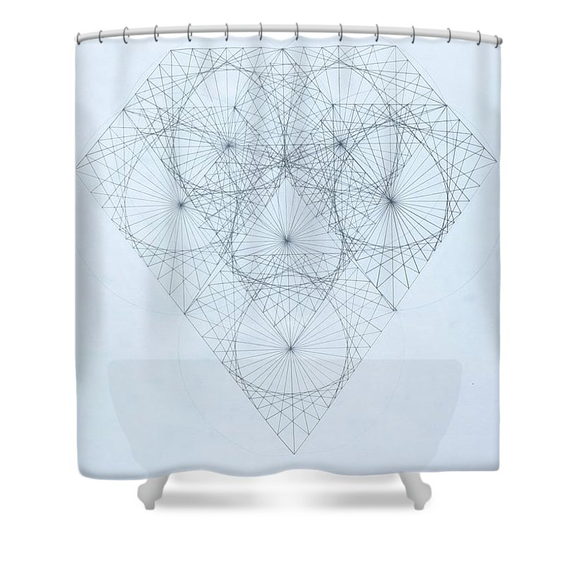Jason Padgett Shower Curtain featuring the drawing Diamond Quanta by Jason Padgett