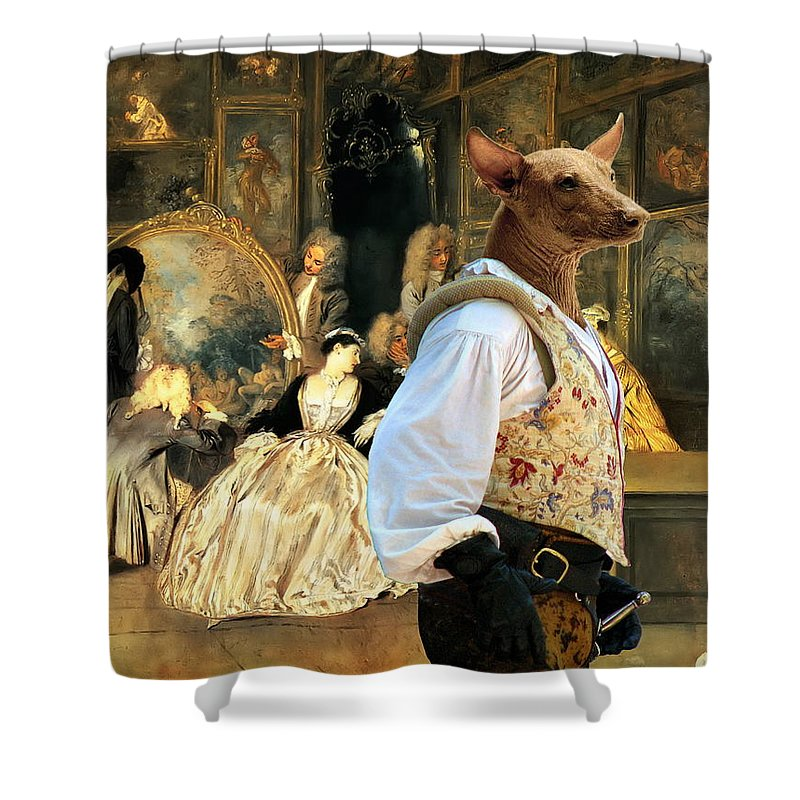 Mexican Hairless Dog Shower Curtain Featuring The Painting Art Canvas Print By Sandra