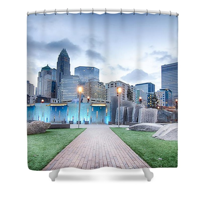 Carolina Shower Curtain featuring the photograph New Romare-bearden Park In Uptown Charlotte North Carolina Earl by Alex Grichenko