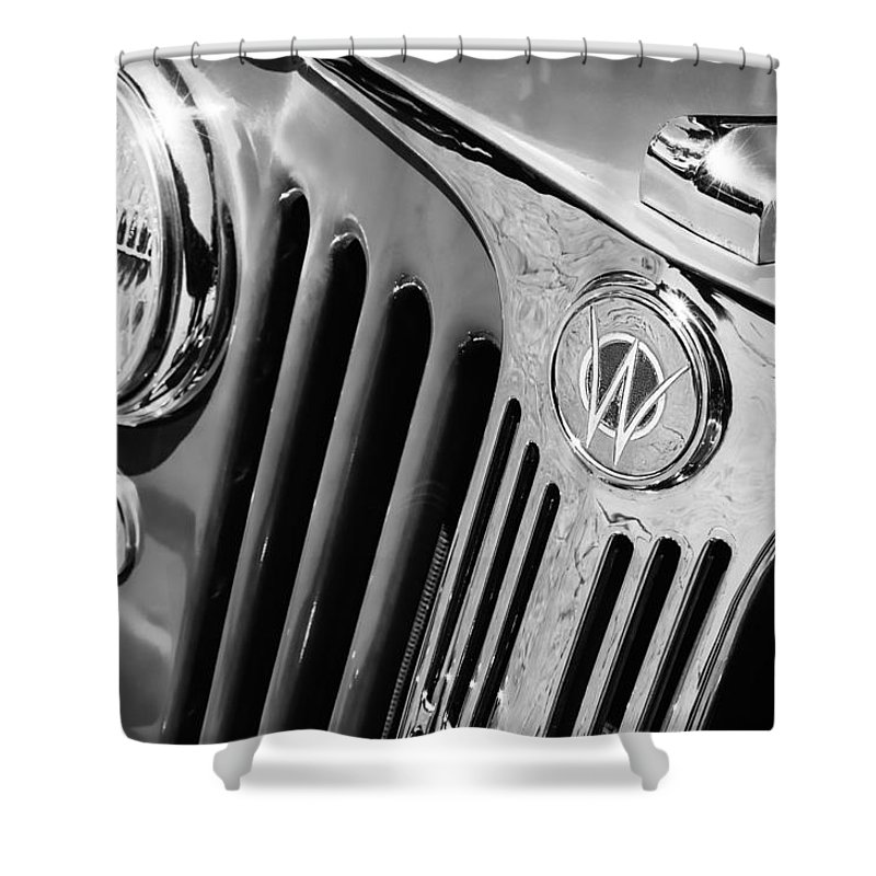 1949 Willys Jeep Station Wagon Grille Emblem Shower Curtain