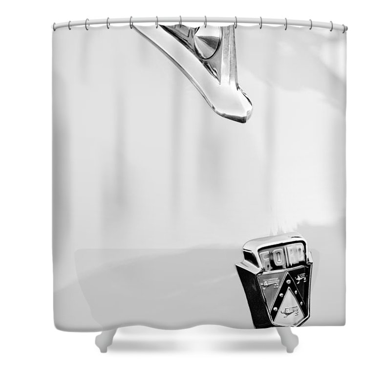 1950 Ford Hood Ornament Shower Curtain featuring the photograph 1950 Ford Hood Ornament - Emblem by Jill Reger