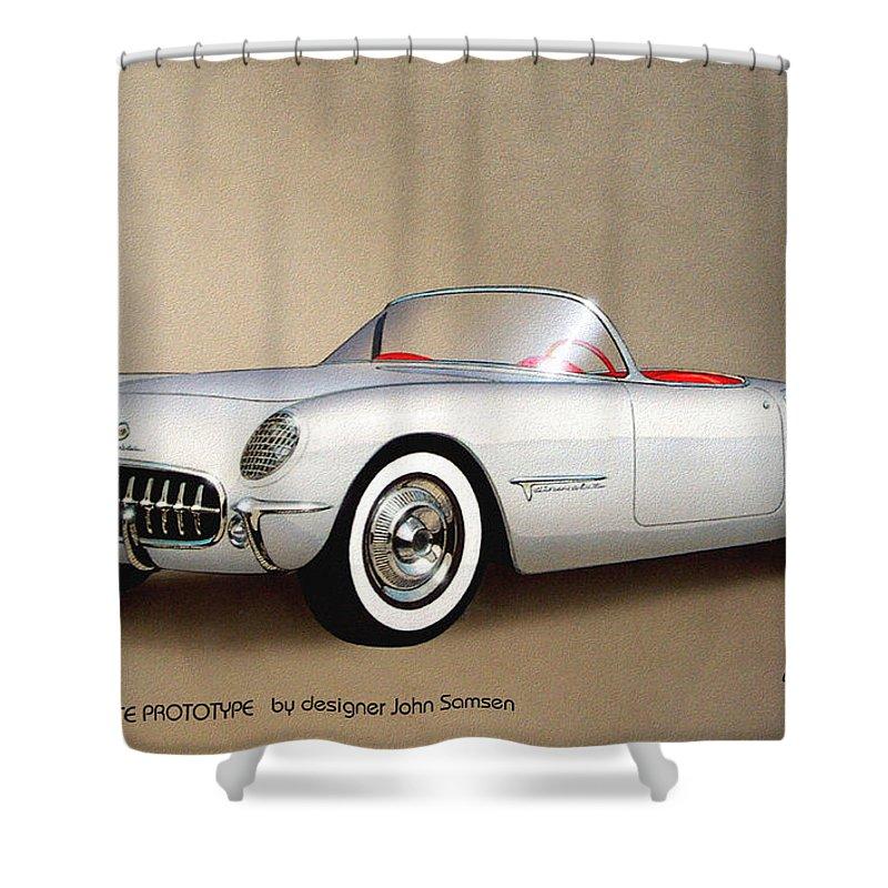 1953 Corvette Classic Vintage Sports Car Automotive Art Shower Curtain For Sale By John Samsen