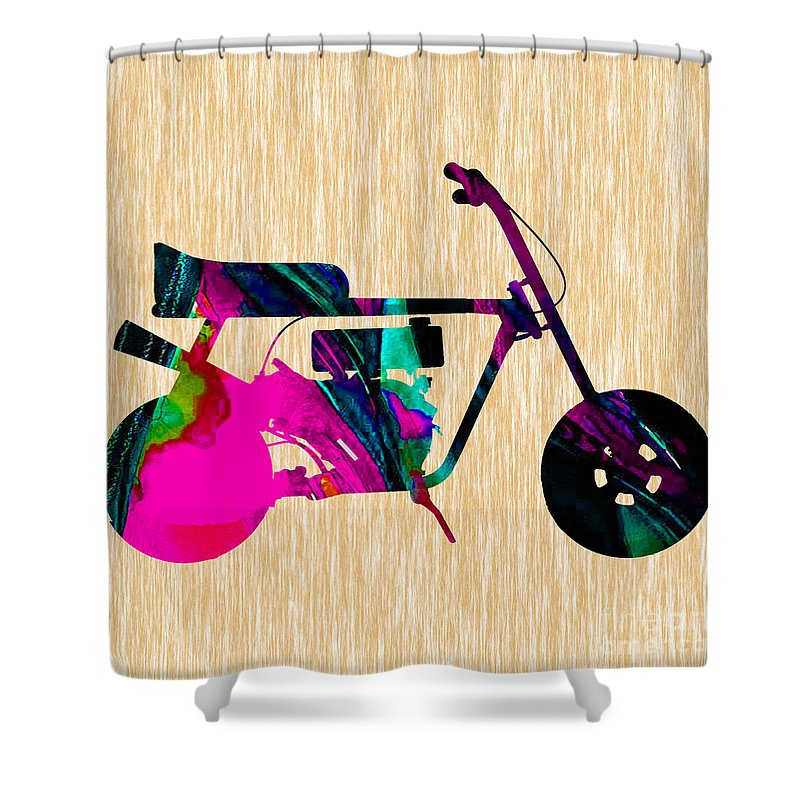 Mini Bike Shower Curtain featuring the mixed media 1960s Mini Bike by Marvin Blaine
