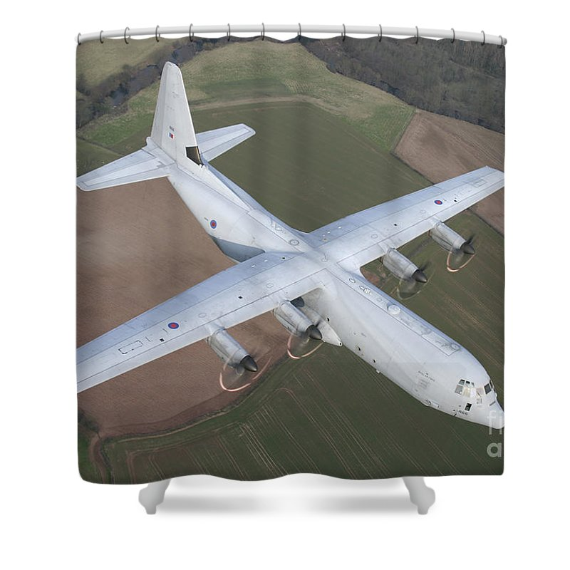 C130j Shower Curtain featuring the photograph A Royal Air Force C130j Hercules by Paul Fearn
