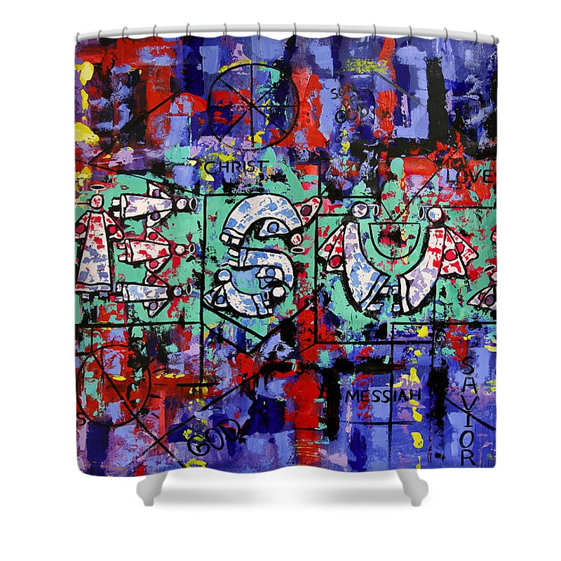 Above All Names Framed Prints Shower Curtain featuring the painting Above All Names by Anthony Falbo