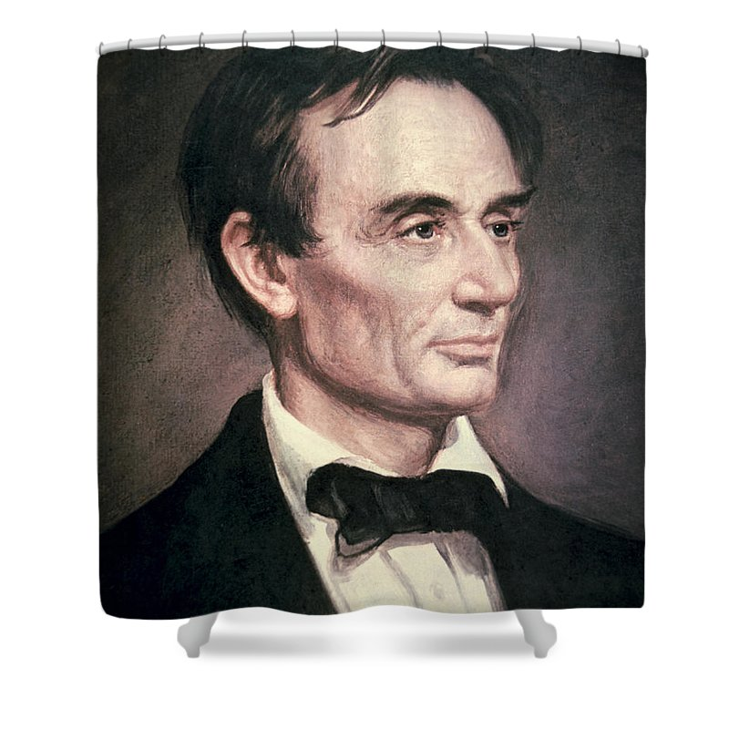 Statesman Shower Curtain featuring the painting Abraham Lincoln by George Peter Alexander Healy