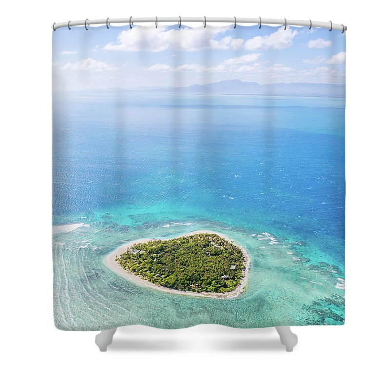 Tranquility Shower Curtain featuring the photograph Aerial View Of Heart Shaped Island by Matteo Colombo
