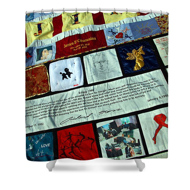 Aids Shower Curtain featuring the photograph Aids Quilt -- 1 by Cora Wandel
