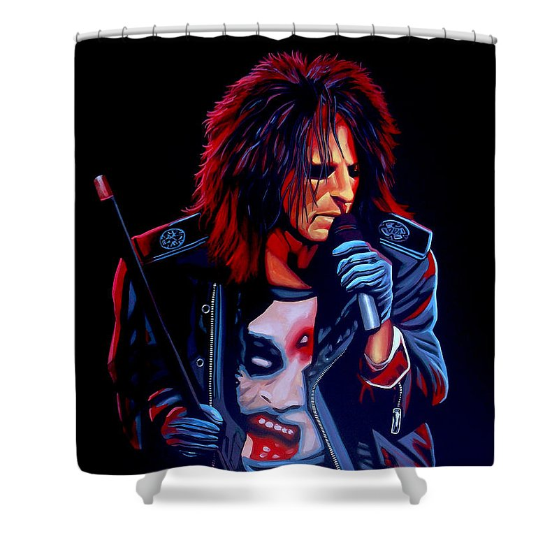 Alice Cooper Shower Curtain featuring the painting Alice Cooper by Paul Meijering
