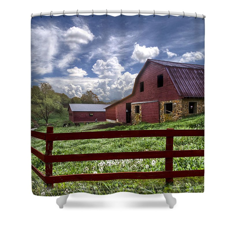 Clouds Shower Curtain featuring the photograph All American by Debra and Dave Vanderlaan