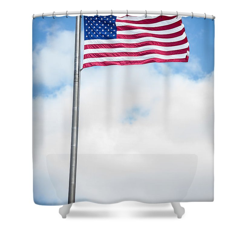 America Shower Curtain featuring the photograph American Flag by Leslie Banks