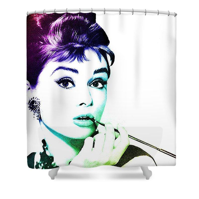 Audrey Hepburn Shower Curtain featuring the digital art Audrey Hepburn by Marianna Mills