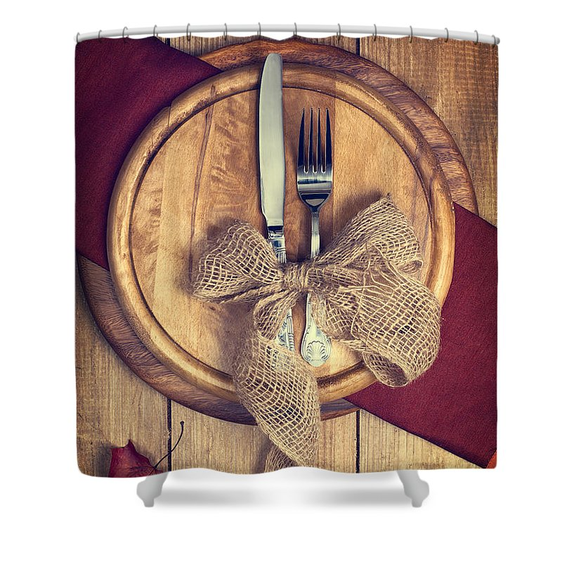 Knife Shower Curtain featuring the photograph Autumn Table Setting by Amanda Elwell