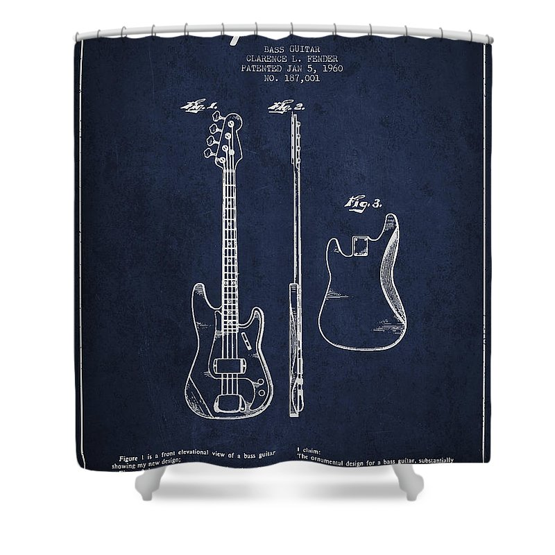 Fender Shower Curtain featuring the digital art Bass Guitar Patent Drawing From 1960 by Aged Pixel
