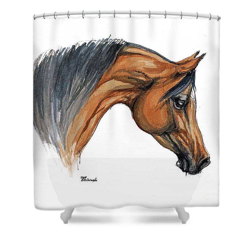 Horse Shower Curtain featuring the painting Bay Arabian Horse Watercolor Painting by Angel Ciesniarska