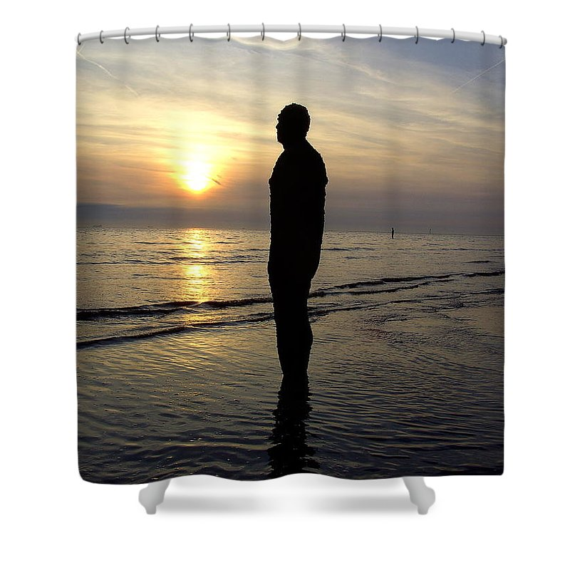 Beach Shower Curtain featuring the photograph Beach Sculpture At Crosby Liverpool Uk by Steve Kearns