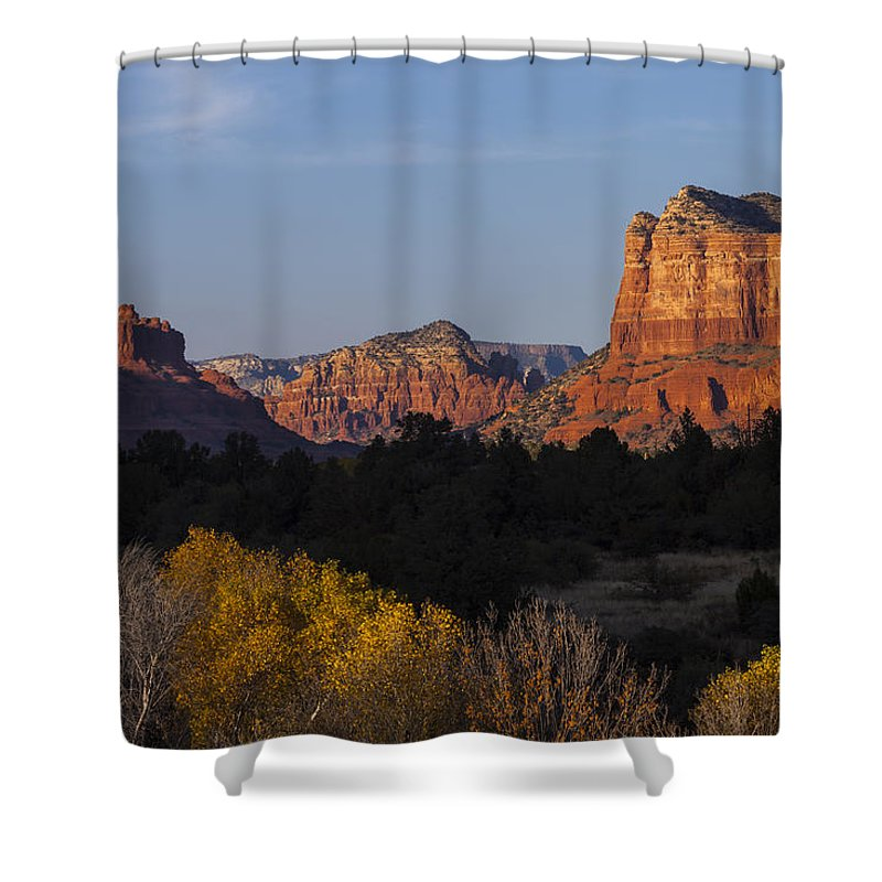 Arizona Shower Curtain featuring the photograph Bell Rock And Courthouse Butte by Ed Gleichman
