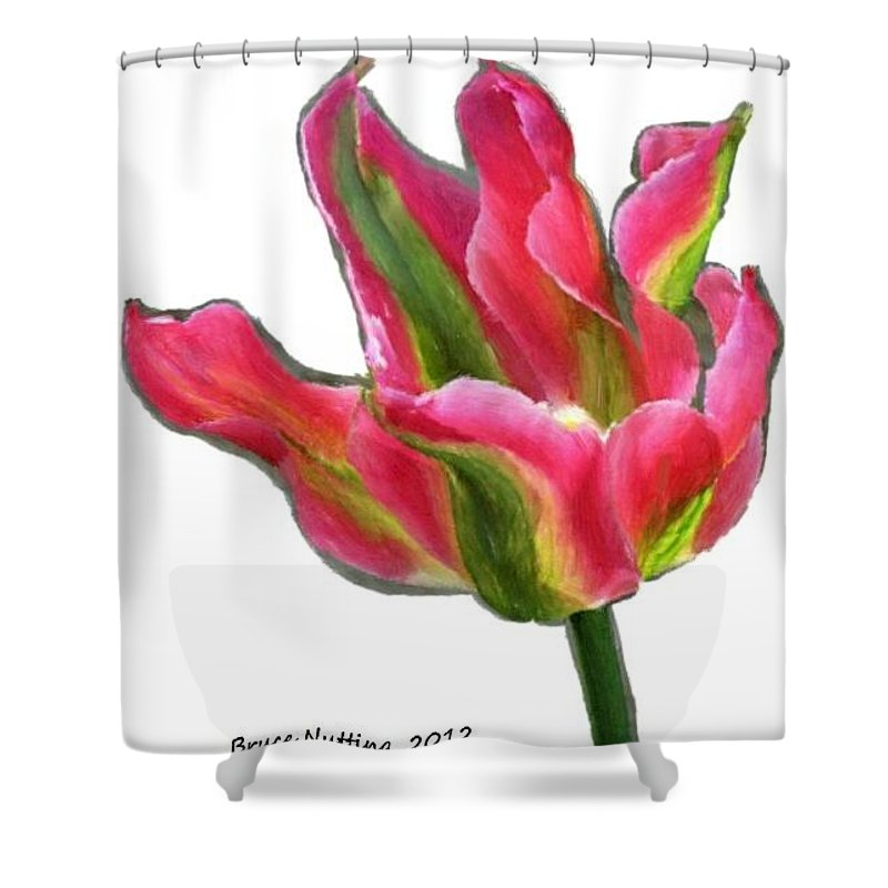 Flower Shower Curtain featuring the painting Blooming Pink by Bruce Nutting